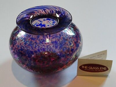 Glass Eye Studio Blue & Pink Iridescent Art Glass Vase, Signed