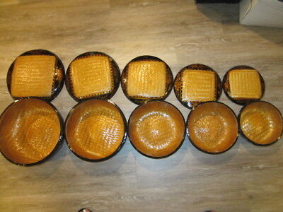 Set of 5 Vintage LACQUERED BLACK & GOLD CHINESE NESTING BAMBOO BASKETS w/LIDS