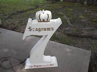 Rare Vintage Large White Seagrams 7 Bar Light Up Sign Large 7 With Crown Look