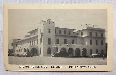 Oklahoma OK Ponca City, Arcade Hotel, Antique cars Vintage Old Postcard