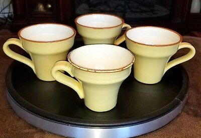 Four Vietri Cucina Fresca Saffron Cream 3 4 Tall Coffee Cups Mugs