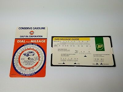 vintage gulf oil dial your mileage bp gas mileage guide slider