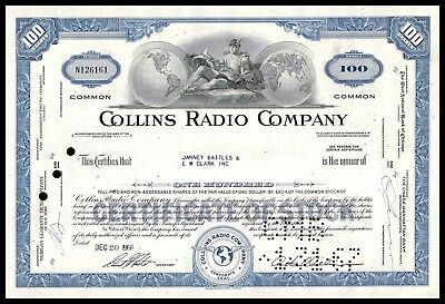 1966 Collins Radio Company BLUE 100 Shares Common Stock Certificate WYSIWYG! VF+