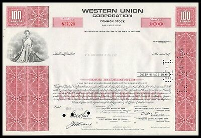 1971 Western Union Corporation 100 Shares Stock Certificate RED WYSIWYG! VF+