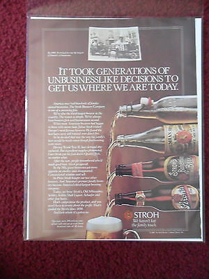 1985 Print Ad Strohs Beer ~ Generations of Unbusinesslike Decisions