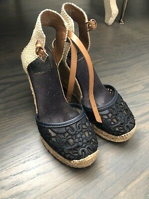 7e8ea3fec AUTHENTIC TORY BURCH NATANYA Black Strappy Espadrille Wedge Sandal ...