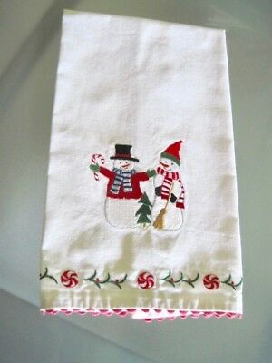 Christmas Snowman Kitchen Dishtowel  100% Cotton