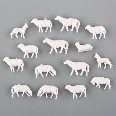 60pcs N Scale UnPainted White Farm Animals Horse Dog Sheep 1:150 Model Layout