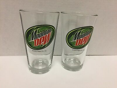 "2 Identical Mountain Dew 2006 Pepsi Co Drinking Glasses 5.75"" Tall VGC"