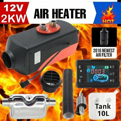 12V 2KW Diesel Air Heater for RV Motorhome Trailer Trucks Boats 2KW + Silencer H