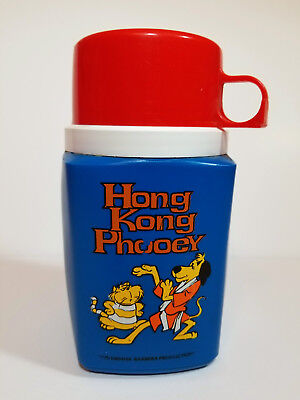 HONG KONG PHOOEY THERMOS Vintage 1975 Hanna Barbera CARTOON Lunch Box PLASTIC