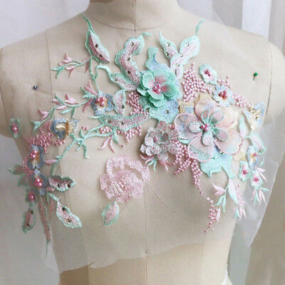 NEW 3D Flower Embroidery Lace Bridal Applique Beaded Pearl Tulle Wedding Dress