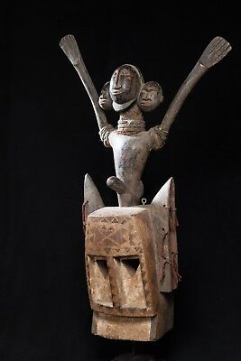 Dogon Mask with Janus Figure Headpiece, Burkina Faso, Mali.