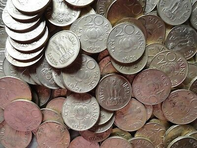100 Coins, 20 Paise Lotus, 1968 To 1971, Brass Coins Of Past, Xf, Collectible