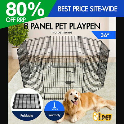 "36"" 8 Panel Pet Playpen Portable Exercise Cage Fence Dog Puppy Rabbit Play Pen"