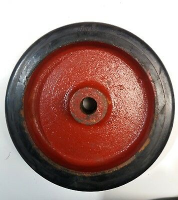 """200x45 cast wheel with bonded rubber tyre, 3/4"""" center bore, 60mm center boss"""