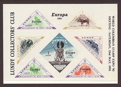Lundy Collectors' Club - Europa 1961 - Columbian Stamp Expo - Mini Sheet - Mnh
