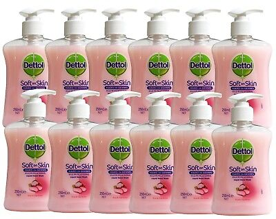 12 X DETTOL 250mL SOFT ON SKIN LIQUID HAND WASH ROSE & SHEA BUTTER - NEW