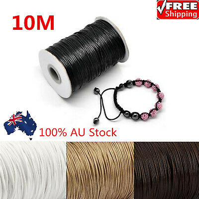 10Mx1MM Waxed Thread Cord String Necklace Rope for Jewelry Making DIY AU
