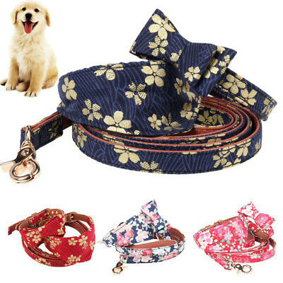11c59e364b19 Pets Dog Cat Leather Floral Neck Leash Band Puppy Unique Mark Necktie  Collars US