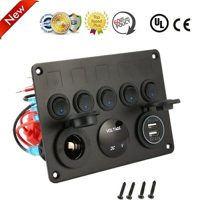 5 Gang ON-OFF Toggle Switch Panel 2USB Charger 12V for Car Boat Marine Truck M2