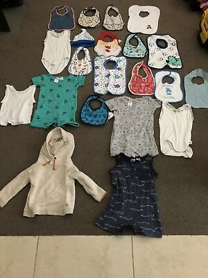 21 Mixed Items Baby Boy Clothing Bibs Size 0 & 1 Pumpkin Patch Target Bonds