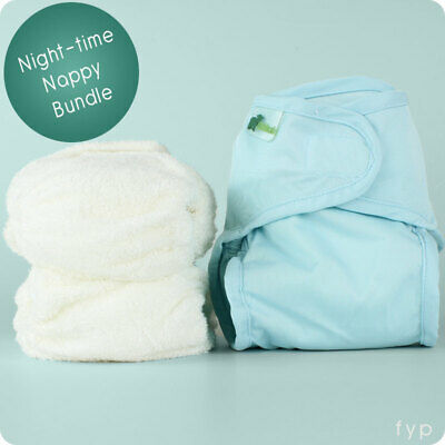 Reusable Nappies Night Time Bundle- Little Lamb Bamboo Nappies + Wrap Set