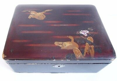 Vintage/antique Large Chinese Lacquer Wood Box/clasp Mandarin Ducks/lake/lilly