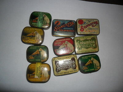 10 Gramophone Phonograph needle tins most with some needles