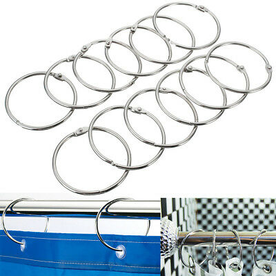 12Pcs Stainless Steel Shower Curtain Rings Hooks Round Anti Rust Easy Glide 2''