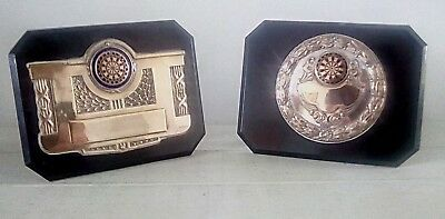 2 x vintage darts trophy plaques, trophy, trophies, darts, NOT ENGRAVED