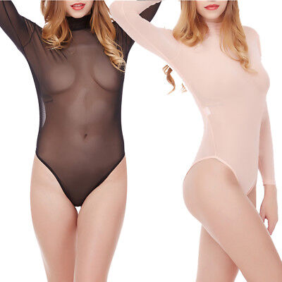 Lingerie One Piece Women Bodysuit Sleepwear Nightwear Sheer Mesh Leotard O neck
