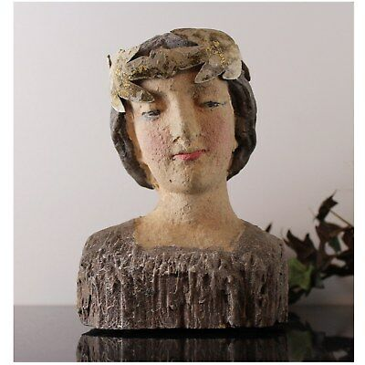 Santos Woman Statue With Leaf Aged Gold White Removable Crown Sculpture