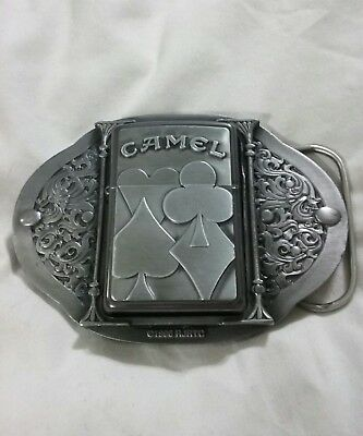 """Camel Cigarettes Zippo Belt Buckle with Midnight Chrome Camel """"Suits"""" Lighter"""