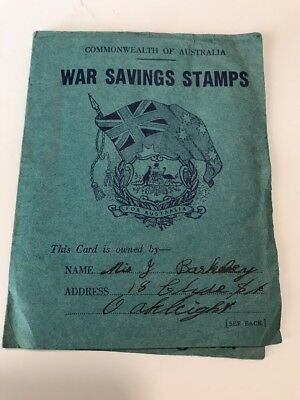 Australia c1940 6d 'Spitfire'- on WAR SAVINGS STAMPS CARD -Cinderella FU