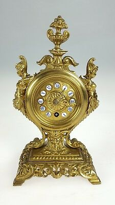 Superb Antique French Figural Solid Brass mantle Clock