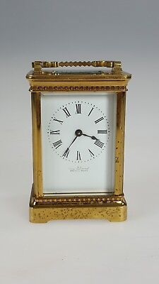ANTIQUE CARRIAGE TIMEPIECE/ MANTEL BRASS IN LACQUERED signed A L THE EQUATOR