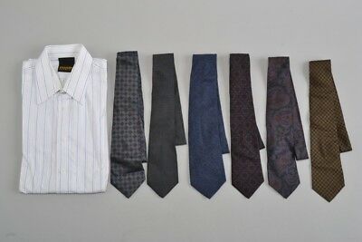 Size 15-15.5 Collar Shirt with 6 x Wool and Silk New & Lingwood Ties. Ref FTL
