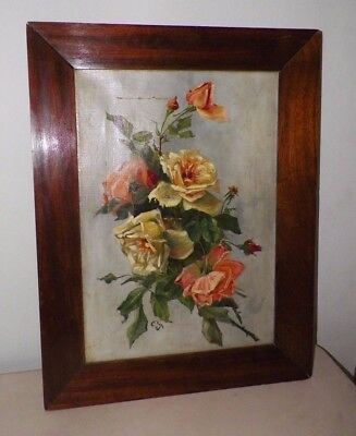VINTAGE 1910  YELLOW ORANGE ROSES OIL PAINTING FRAMED 19 x 25