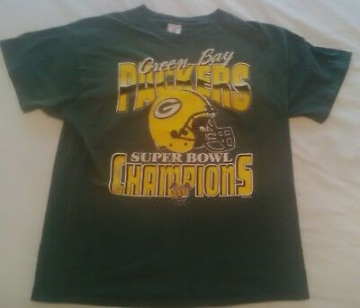 Mens Vintage Green Bay Packers Superbowl 31 T Shirt American football Size XL