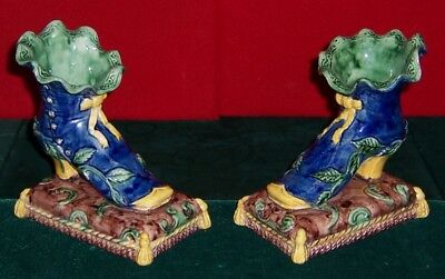 Vintage French Majolica Pottery Pair Of Shoes Circa 1870