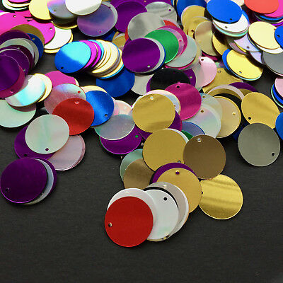 100/500 x 15 mm Small Round Disc Sequins available in Mixed Colours, or Silver.