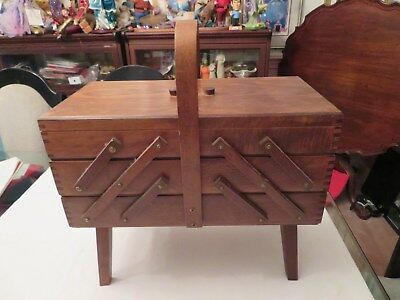 Vintage Wood Accordion Style Sewing Case 3 Fold Out Tiers Romania Handle & Legs
