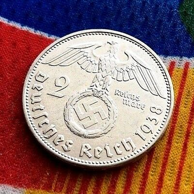 1938 B 2 mark German WWII Silver Coin Third Reich Reichsmark 5*