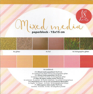 BLOCK CARDBOARD MIXES MEDIA GOLD - 15x15CM - 18 BLÄTTER - 4 DESIGNS!!