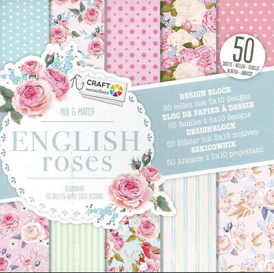Block Mix & Match English Roses - 50 Blätter/5 X 10 Designs - 15X15Cm - Neu!