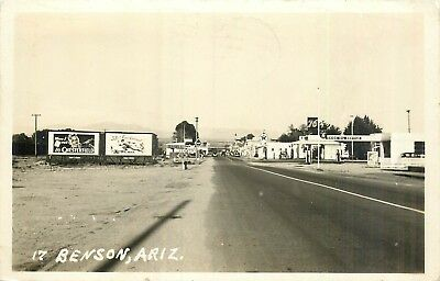 Benson Arizona Street View - Chesterfield Acme Beer - 1945 Real Photo Postcard