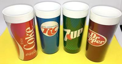 (4) Vintage Thermoserv Cups Soda Soft Drink Tumbler  7Up Dr Pepper Rc Cola Coke