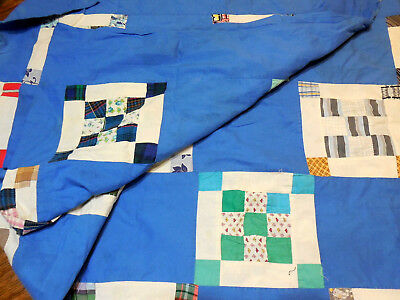 "Vtg  Handmade Nine Square Block Patchwork Pieced Quilt Top ""Repurpose Only"""