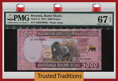"Tt Pk 41 2014 Rwanda 5000 Francs ""gorilla"" Pmg 67 Epq Superb Gem Uncirculated!"